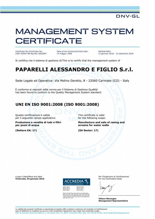 Certificato qualità Paparelli filtri e tubi per pozzi d'acqua