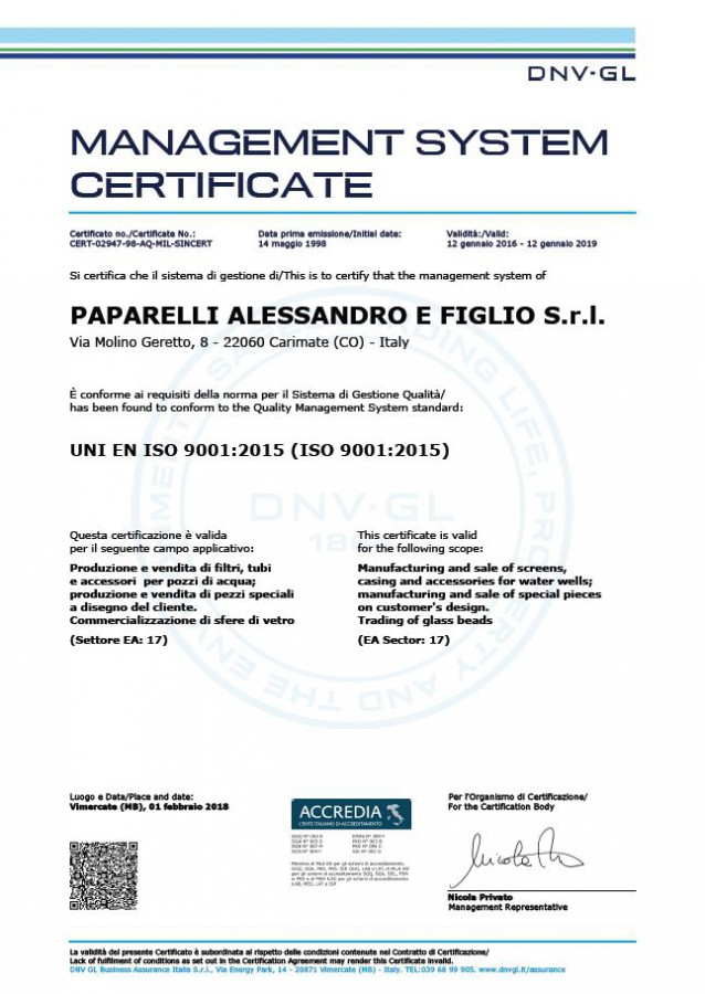 New Quality System Certification Iso 9001 2017 For Our Water Screens And S